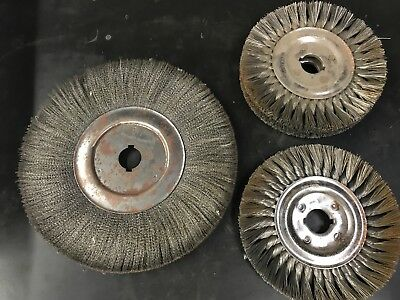 """Osborn and Weiler wire wheels 8"""" x 1"""", 8"""" x 2"""" and 12 x 1"""" used 1 1/4"""" center"""