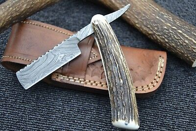 "HUNTEX Handmade Damascus 6.5"" Deer Horn French Bladed Cut Throat Shaving Razor"