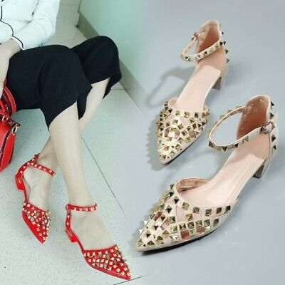Women Stylish Patent Leather Pointed Toe Studs Rivet Ankle Strap Court Shoes sam