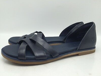 29ba5830b977 3C11 Timberland Sandals Open Toe Navy Leather Casual Flats Women Shoes Size  7.5