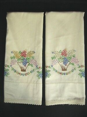 Vintage Pair Cotton Off white Pillow Cases Embroidered & Crochet Edge. Reg. Sz.