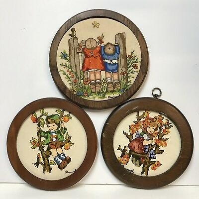 VTG Completed Hummel Crewel Embroidery Framed Birdwatching Apple Tree Boy Girl