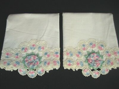 Vintage Pair Cotton Off white Pillow Cases Blue/Pink Floral Crocheted edge  Reg.