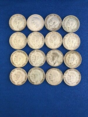 Great Britain 1/2 Half Crowns 0.500 Silver Coins Lot of 16 George VI