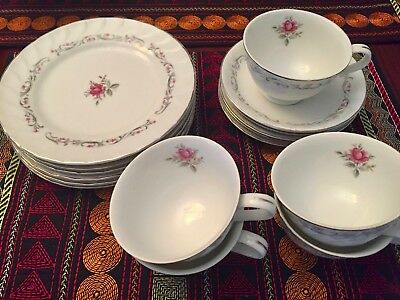 """Lot of 16 Fine China of Japan Royal Swirl  7 1/2"""" Salad Plates, Cups, Saucers"""