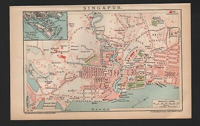 Landkarte city map 1900: SINGAPUR. Asien Asia