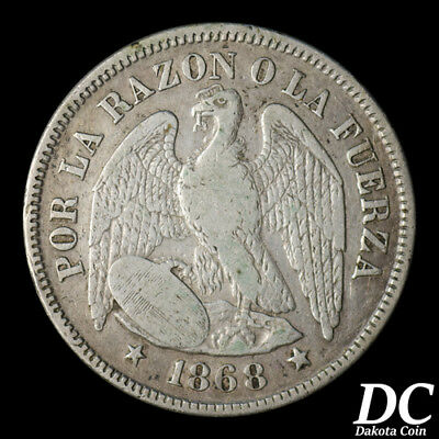Chile 1868 50 Cents ~ KM# 139