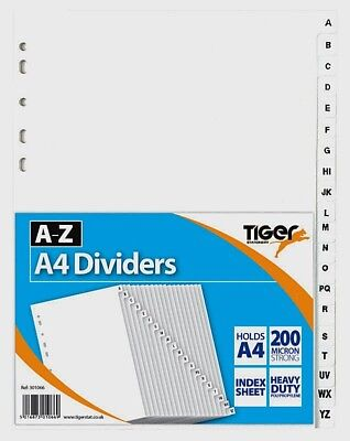 A to Z plastic A4 plastic Dividers index A-Z Filing File FAST & FREE POSTAGE