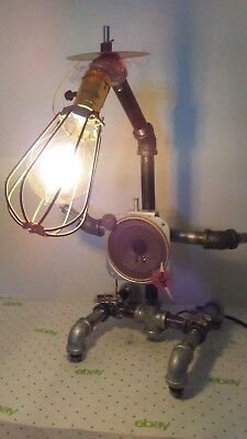 1 Of A Kind Robot Vintage Tube Clock Radio Parts Pipe Steampunk Table Desk Lamp