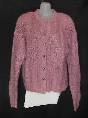 1980's Vintage Crew Neck Cable Knit Mohair Cardigan.