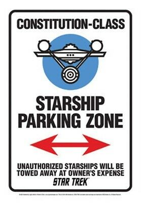 Star Trek Classic Starship Parking Zone Tin Sign Poster 8 x 11.5 NEW UNUSED