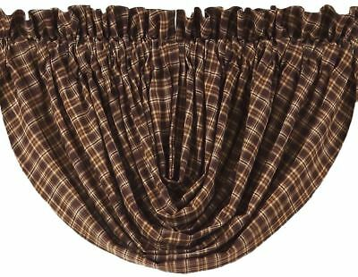 "Balloon Valance Brown Cotton Plaid Country Farmhouse Style 15"" Long Prescott"