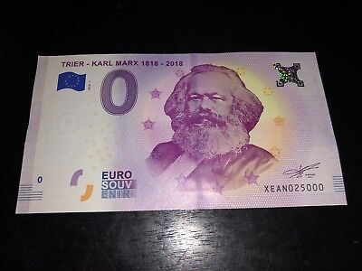 KARL MARX 200 birthday €0 EURO OFFICIAL BANKNOTE Rare