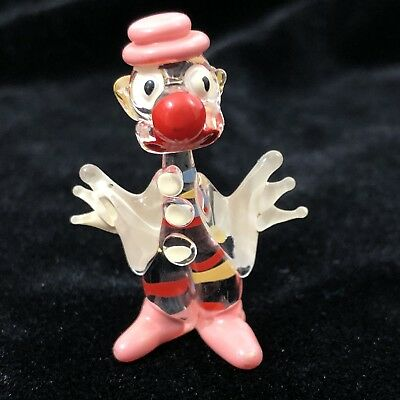 Blown Glass Clown Miniature Figurine Vintage Hand Painted Pink Red Blue