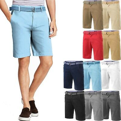 456043bc8e Mens CHINO SHORTS Cotton Belted Pants Soft Twill Summer Basic Casual Flat  Front