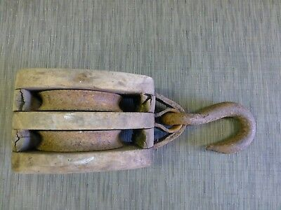 Antique Block and Tackle Double Pulley Wood Metal w/ Hook Large