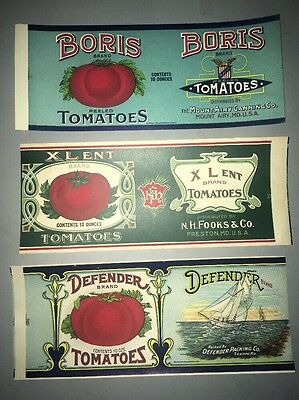 3 Tomatoes Can Labels Advertising Maryland Canners Boris Defender Tin Metal Can