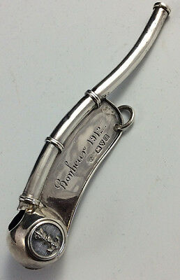 Antique Sterling silver Bosun Whistle Boatswain call Haseler Brothers Chester