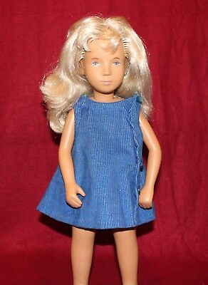 "16"" Vintage Sasha Doll Blond Hair,Blue Eyes And Blue Corduroy Dress,Made In UK"
