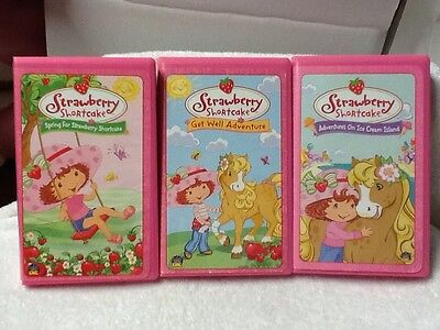 Lot of 3 VHS Strawberry Shortcake Get Well Ice Cream Island Spring EUC