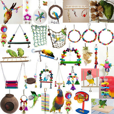 Parrot Hanging Swing Bird Toy Harness Cage Toys Parakeet Cockatiel Budgie Lot