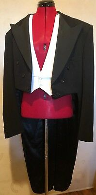 ANTIQUE MENS JACKET MORNING SUIT TAILS TUXEDO WEDDING WITH DICKIE VEST Amazing!