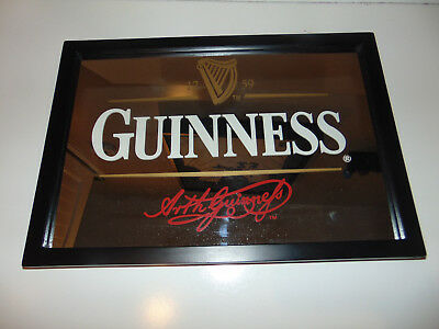 "Guinness Beer Bar Mirror w/ ""Arth Guinness"" Signature - 18"" x 13"""