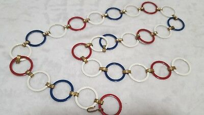 vintage metal rings chain belt red white blue 1970s?