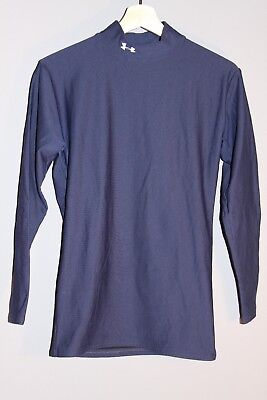UNDER ARMOUR Mens L Cold Gear Mock Neck Long Sleeve Shirt Top Blue Compression