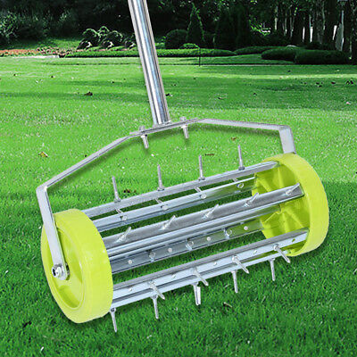 AU Heavy Duty Rolling Grass 3 Piece Steel Handle Lawn Garden Aerator Roller