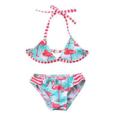 US Flamingo Kids Baby Girls Beach Bikini Bathing Swimsuit Swimwear Swimming Suit