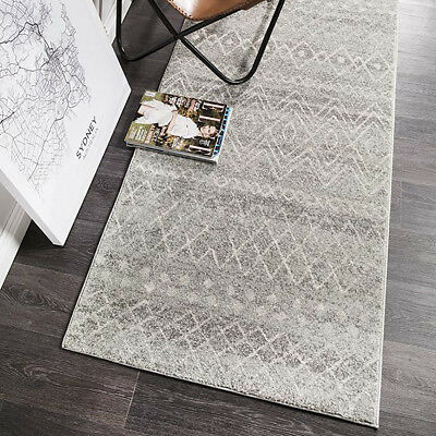 HARBOR GREY IVORY BOHO TRIBAL MOROCCAN MODERN FLOOR RUG RUNNER 80x300cm **NEW**