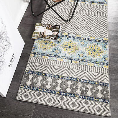 HARBOR GREY BLUE BOHO TRIBAL MOROCCAN MODERN FLOOR RUG RUNNER 80x300cm **NEW**