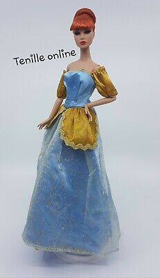 New Barbie clothes outfit princess wedding dress blue flower