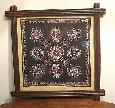 antique detailed hand sewn needlepoint embroidered tapestry carved wood framed