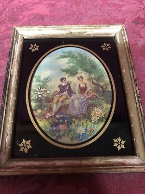 Vintage Antique 5x6 Framed Painting 18th Century Man & Woman In Garden SHIPS NOW