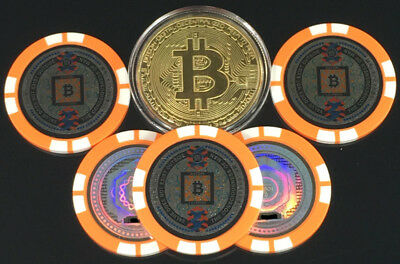 Bitcoin Gold Plated Physical Coin with (5) Satori Poker Chips