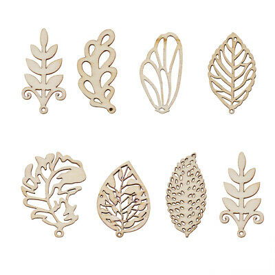 100pcs Natural Wood Leaf Pendants Filigree Antique White Dangle Charms 47~49mm