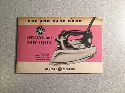 Vtg GE Steam & Dry Iron Care & Use Book Cat.# F60