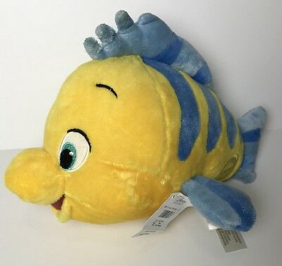 """Disney Store The Little Mermaid: Flounder Plush 10"""" Stuffed Fish with Tags"""