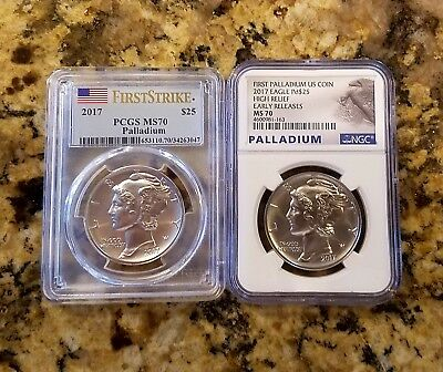 2017 Palladium Eagle Set--PCGS MS 70 First Strike and NGC MS 70 Early Release