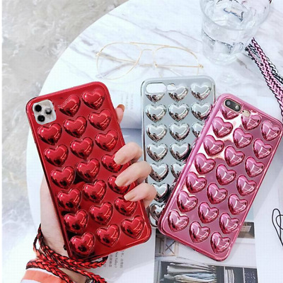 For iPhone XS MAX X 8 7 3D Cute Heart Shockproof Silicone Soft Rubber Phone Case