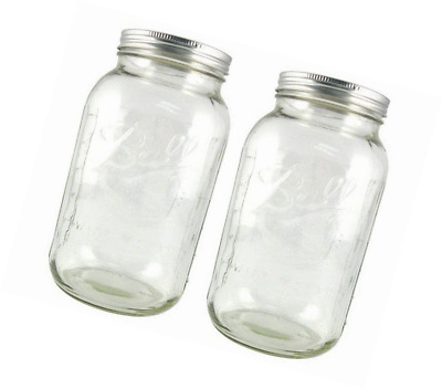 fefcf6bc597 2 Pack Wide Mouth Half Gallon Jars Clear Glass Mason Canning Jar With Lid  New