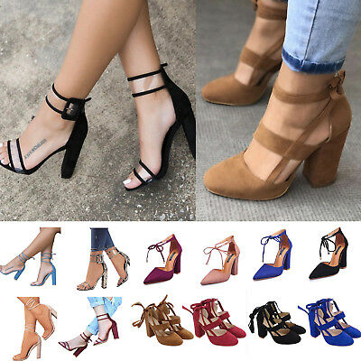AU Womens Block High Heels Ankle Strap Sandals Peep Toe Chunky Party Pumps Shoes