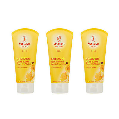 3 X Weleda Baby Calendula Shampoo & Body Wash 200ml,