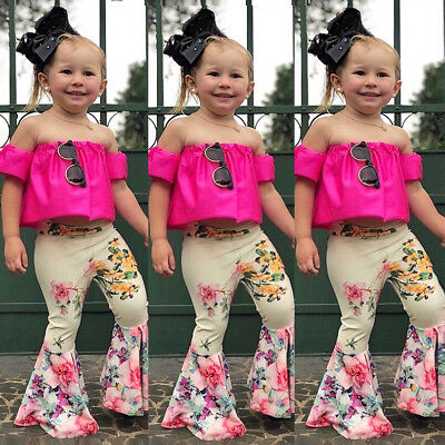 USA Kids Baby Girls Off Shoulder Tops T-shirt Bell-Bottom Pants Outfits Clothes