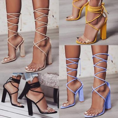Women Lace Up High Block Heel Sandals Perspex Strap Ladies Open Toe Party Shoes