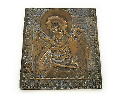 Antique Russian Bronze Brass Enamel Icon St John The Forerunner (Baptist) 19th C