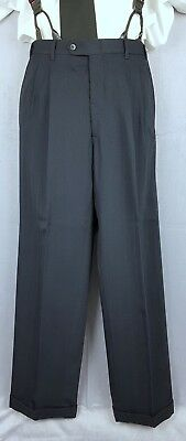Vtg Blue Pleated Trousers Turn Ups Brace Buttons 70s Does 40s/50s W28 L30 EY67