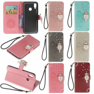 For Huawei wallet pu leather Phone case Jewelled magnetic strap 3D Diamonded owl